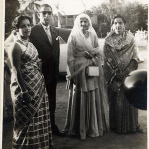 Fatima Jinna visiting HM Silk Mills in 1971
